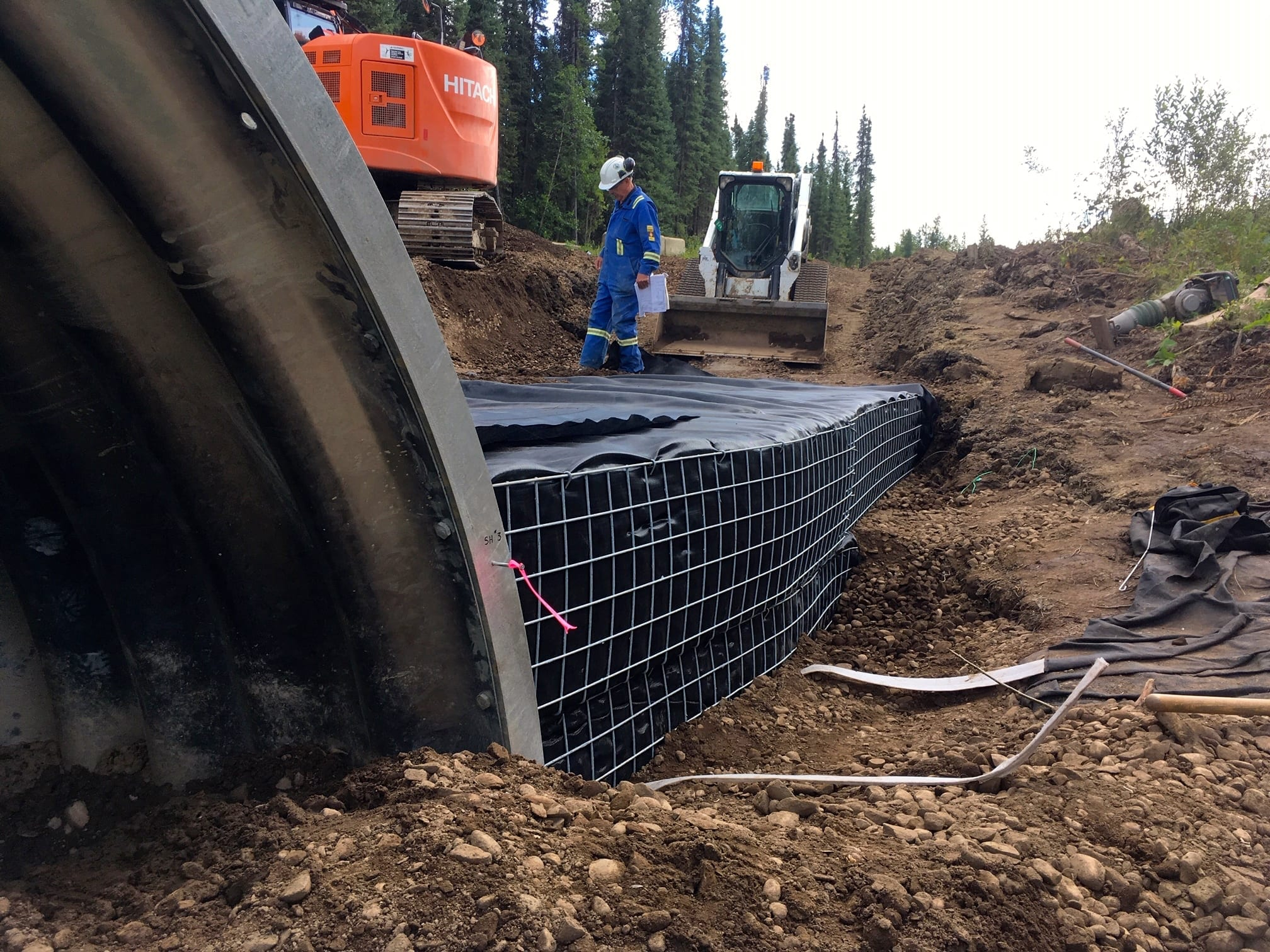 Close view of GRS composite backfill on resource road stream crossing